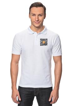 """Рубашка Поло """"QR код биткоин белый"""" - bitcoin shop, стиль биткоин, одежда биткоин, футболка биткоин, крипто одежда"""