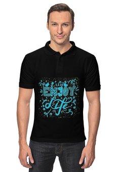 """Рубашка Поло """"Надпись"""" - наслаждение, жизнь, надпись"""