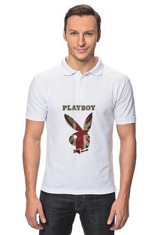 """Рубашка Поло """"Playboy Британский флаг"""" - playboy, плейбой, зайчик, великобритания, плэйбой"""