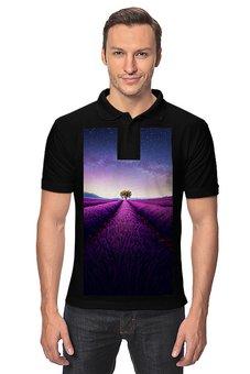 """Рубашка Поло """"Без названия"""" - космос, небо, природа, звёзды, лаванда"""