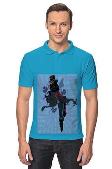 """Рубашка Поло """"Ядовитый плющ."""" - череп, девушка, ядовитый плющ, трелистники, негритянка"""