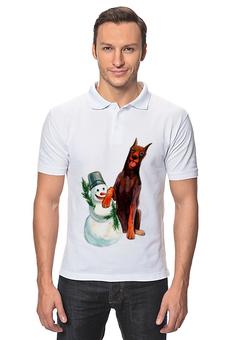 """Рубашка Поло """"забавная акварельная собака, символ 2018 года"""" - милый, собака, символ года, акварель, снеговик"""