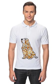 """Рубашка Поло """"смешная собака бассет"""" - узор, рисунок, собака, бассет, ушастая"""