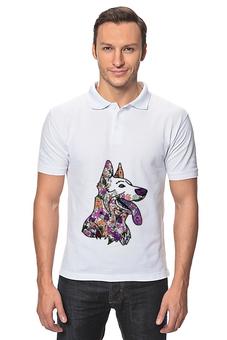 "Рубашка Поло ""забавные собаки"" - смешная, узор, собака, символ года, овчарка"