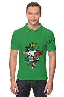 """Рубашка Поло """"Череп"""" - череп, змея"""