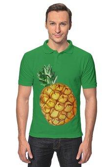 """Рубашка Поло """"Ананас"""" - лето, фрукты, акварель, ананас, экзотический"""
