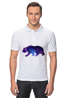 "Рубашка Поло ""Space animals"" - space, bear, медведь, космос, астрономия"