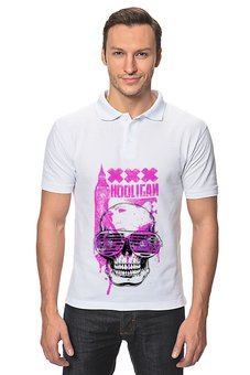 """Рубашка Поло """"Хулиган"""" - skull, череп, клуб, хулиган, очкижалюзи"""