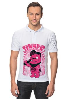 """Рубашка Поло """"Медведь бандит"""" - гранж, медведь, пиво, sinner, грешник"""