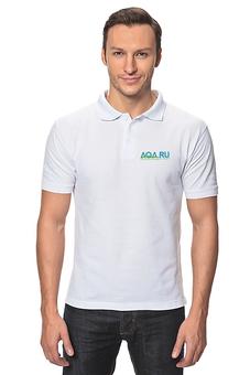 """Рубашка Поло """"AQA.ru - прозрачный мир. Белое Поло"""" - аквариум, аквару, aqa"""
