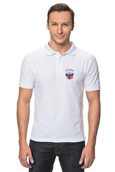 """Рубашка Поло """"Россия"""" - русский, россия, герб, russia, флаг"""