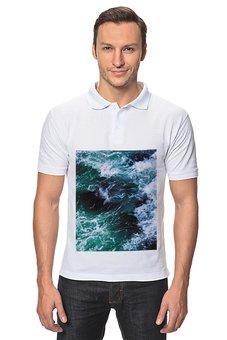"""Рубашка Поло """"Бескрайнее море"""" - море, корабль, легкость, прибой, surge"""