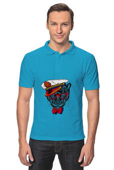 "Рубашка Поло ""Кот - мореход"" - кот, моряк"
