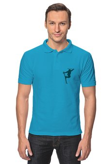 "Рубашка Поло ""Фристайл"" - силуэт, спорт, зима, лыжи, фристайл"