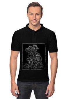 """Рубашка Поло """"Борьба с зелёным змием"""" - череп, алкоголь, скелет, россия, пьянство"""