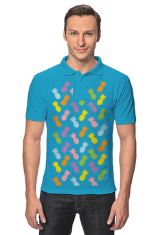 """Рубашка Поло """"Ананасы!"""" - узор, фрукты, радуга, паттерн, ананас"""