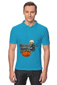 """Рубашка Поло """"Хэллоуин"""" - хэллоуин, череп, тыква"""