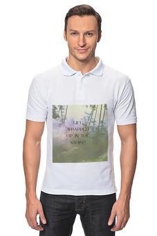 "Рубашка Поло ""Стиль арт-фэшн ""pine forest"""" - надписи, лес, природа, фэнтази, author's photo"