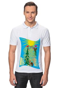 """Рубашка Поло """"Грибные походы."""" - солнце, лес, деревья, грибы, грибники"""