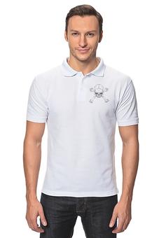 """Рубашка Поло """"Череп с костями"""" - череп, серый, белый, рисунок, кости"""