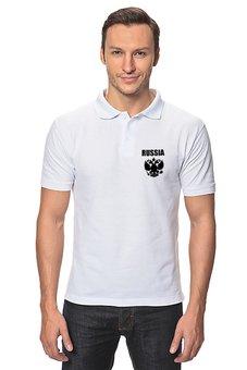 "Рубашка Поло ""Russia"" - русский, россия, герб, russia, флаг"