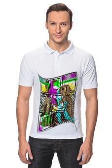 "Рубашка Поло ""Аквариум."" - клетка, рыбки, рыба, аквариум"