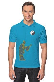 "Рубашка Поло ""Рубашка Цигун"" - монах, china, yin-yang, инь-ян, монада"