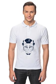 """Рубашка Поло """"The cat in the hat"""" - кот, арт, животные, шляпа"""