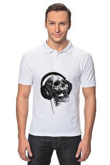 """Рубашка Поло """"Музыка навсегда"""" - музыка, череп, авторские майки, стиль, футболка мужская"""