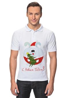"""Рубашка Поло """"Новогодний заяц"""" - новый год, кролик, новый год 2018"""