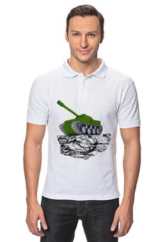 """Рубашка Поло """"С 23 февраля!"""" - 23 февраля, день защитника отечества, танк, февраль, прадник"""
