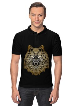"Рубашка Поло ""Голова волка"" - животное, волк"