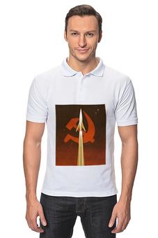 "Рубашка Поло ""Советский плакат"" - ссср, космос, день космонавтики, плакат"