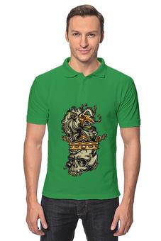 """Рубашка Поло """"Череп и лев"""" - череп, корона, лев"""