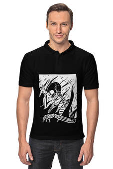 "Рубашка Поло ""Burning Skeleton"" - skull, череп, рок, вектор, горит"