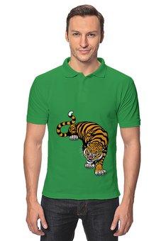 """Рубашка Поло """"Свирепый тигр"""" - животное, тигр"""