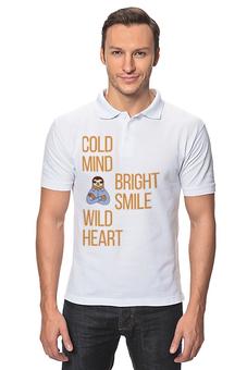 """Рубашка Поло """"Cold mind"""" - туризм, ленивец"""
