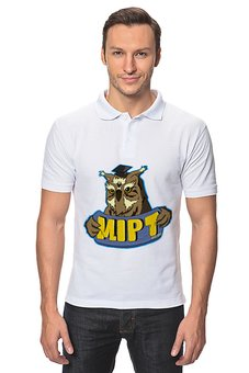 "Рубашка Поло ""MIPT ""Сова"" белая"" - животные, сова, мфти, физтех, mipt"
