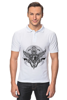 "Рубашка Поло ""Байкер"" - череп, спорт, мотоцикл, байкер"