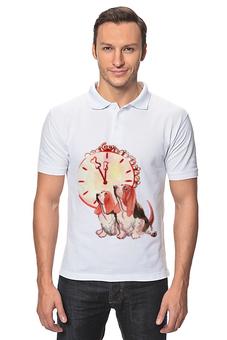 """Рубашка Поло """"новогодние акварельные собаки"""" - милый, собака, часы, игрушка, полночь"""