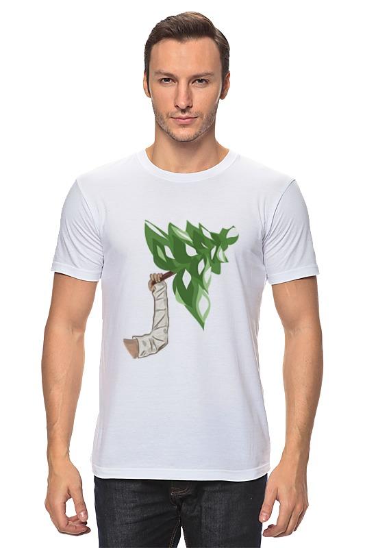 Футболка классическая Printio Рука в гипсе держит елку