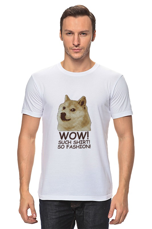 Футболка классическая Printio Doge wow such shirt so fashion 3d bird and flower printed plain fly shirt collar long sleeves shirt for men