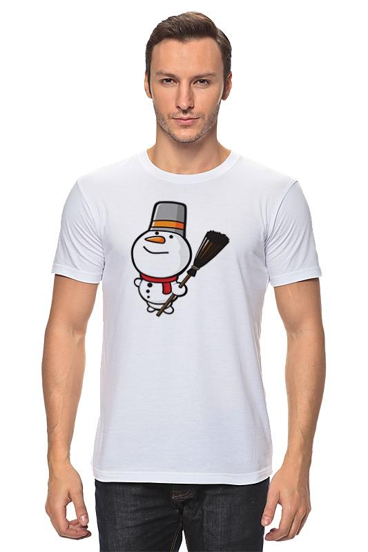 Футболка классическая Printio Снеговик с метлой тележки клининг с ведром
