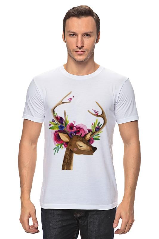 Футболка классическая Printio Олень с цветами в рогах футболка классическая printio муравьед с цветами
