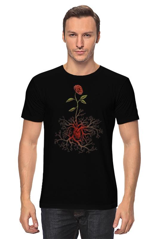Футболка классическая Printio Роза и сердце пламенная роза тюдоров