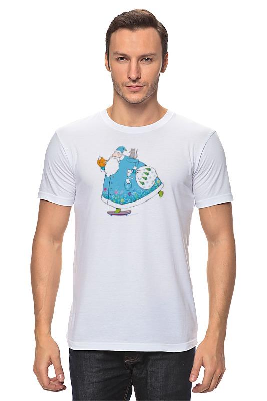 Футболка классическая Printio Дед мороз на скейте ostin футболка с новогодним принтом