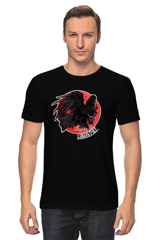 Футболка классическая Printio Raven and blood moon raven evil black мой рай