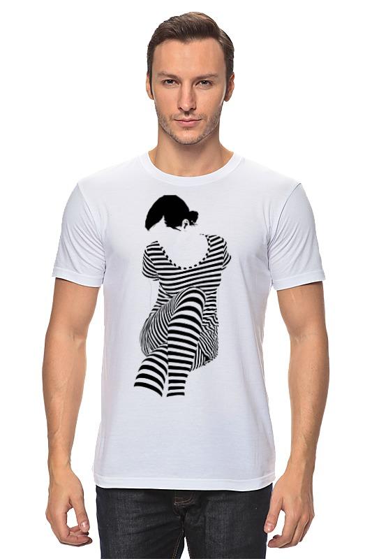 Футболка классическая Printio Белая,стильная,с рисунком,чайки,полосатая девушка