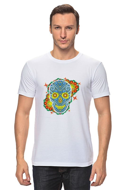 Футболка классическая Printio Floral skull mesh shoulder ruffle floral top