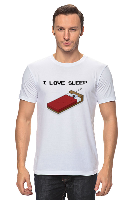 Футболка классическая Printio i love sleep пиксель арт каталог i love sleep